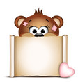 Cute bear with paper scroll on a white background vector image