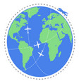 airplane flying travel around world vector image vector image
