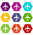 airplane icon set color hexahedron vector image vector image