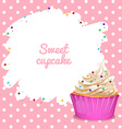 Border with cupcake background vector image