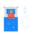 boy sleeping - colorful flat design style vector image