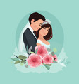 bride and groom couple wedding card with newlyweds vector image