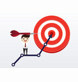 businessman directs arrow to target aim vector image vector image