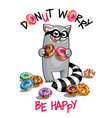 cartoon raccoon with donuts vector image vector image