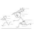 cartoon scared man running away from caveman vector image vector image