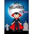 cartoon vampire with halloween background vector image vector image