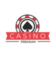 casino club isolated icon spades sign poker chip vector image