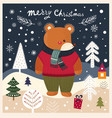 christmas card with bear vector image vector image