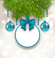 Christmas gift card with glass balls vector image vector image