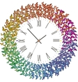 Clock with many butterflies flying clockwith vector image vector image