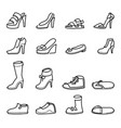 continuous line men and women shoes set vector image