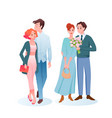 couple people cuddle in love on romantic date vector image vector image
