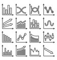 diagrams and graphs icons set line style vector image