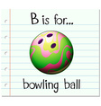 Flashcard letter B is for bowling ball vector image vector image