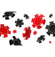 flying red and black casino chips vector image vector image