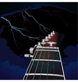 Guitar on a background of the sky with lightning vector image