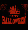 happy halloween bloody silhouette of creepy house vector image vector image