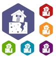 House after an earthquake icons set vector image vector image