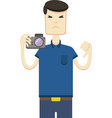 image of an asian with a camera vector image vector image