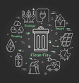 linear banner clean city - garbage can vector image vector image