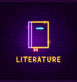 literature neon label vector image