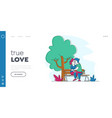 loving couple kissing on bench in summer city park vector image