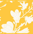 magnolia flowers leaves tree branch seamless vector image vector image