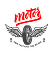 motor emblem template with winged motorcycle vector image vector image