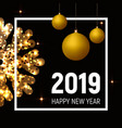 new year 2019 poster golden balls and snowflake vector image