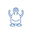 one eyed monster line icon concept one eyed vector image