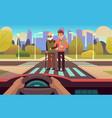 pedestrian crossing elderly care people cross vector image vector image