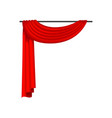 red curtains on metal cornice decoration element vector image