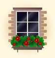 red flowers on window vector image vector image
