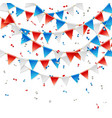 red white and blue party flags with confetti vector image vector image