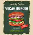 retro fast food vegan burger poster vector image