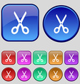 Scissors icon sign A set of twelve vintage buttons vector image