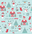 seamless pattern cute christmas children vector image