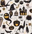 Seamless pattern Of Vintage Happy Halloween flat vector image