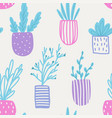 seamless pattern with flowers in pots vector image vector image