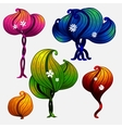 Set of futuristic trees for game design vector image