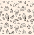 sketch dessert seamless background cakes sweets vector image vector image