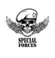 special forces winged soldier skull design vector image