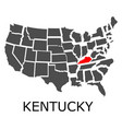 state of kentucky on map of usa vector image vector image
