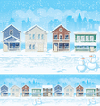 Suburban Street In Winter vector image vector image