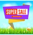super sale summer background cut paper art style vector image vector image