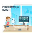 talent school boy programming robot digital course vector image vector image