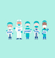 team doctors with hand placard text stay vector image