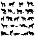 wolves and martens silhouettes set vector image