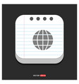 world globe icon gray icon on notepad style vector image