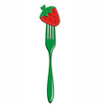 Fork and strawberry background vector image